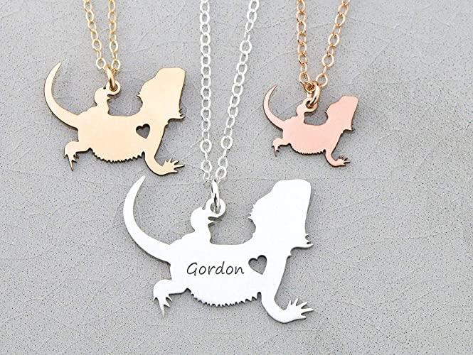 Bearded Dragons Necklace - IBD - Lizard Gift - Personalize Name - Pendant  Size Options - 935 Sterling Silver 14K Rose Gold Filled