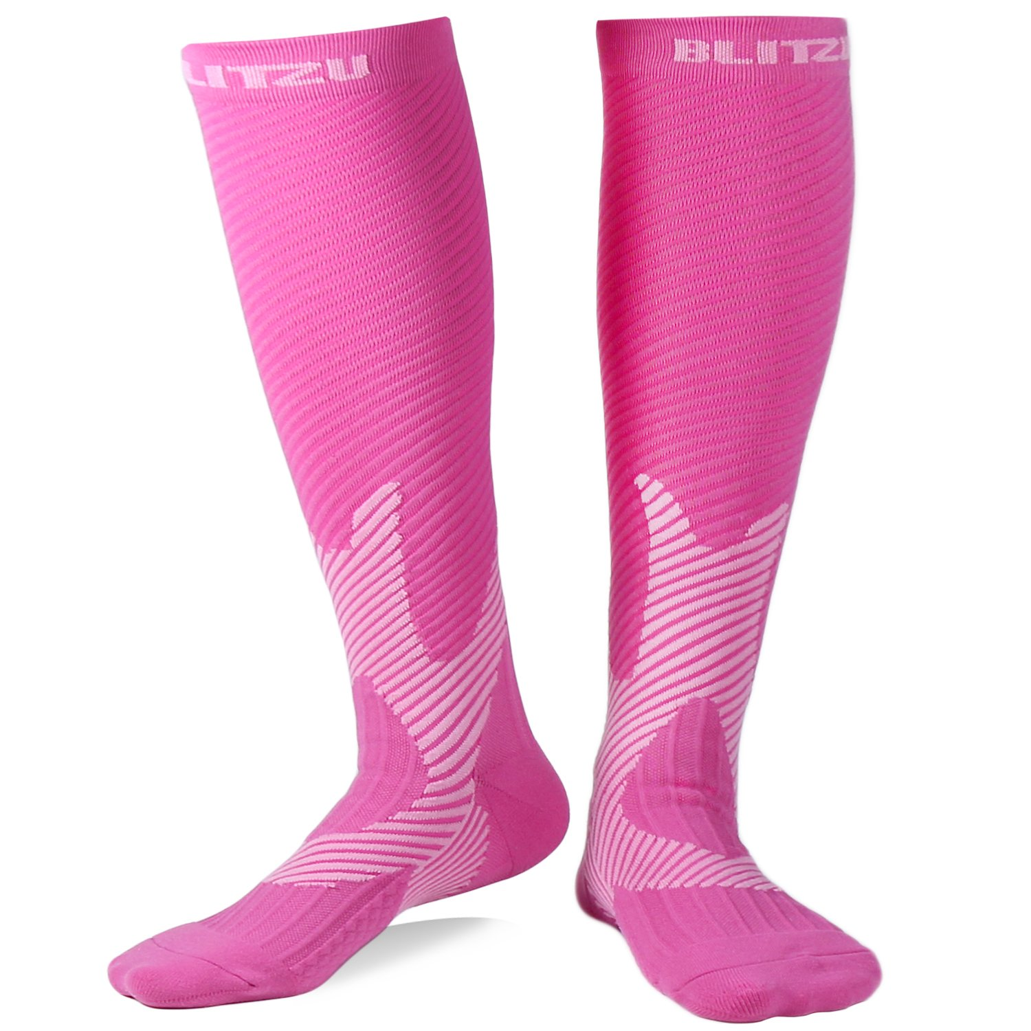 BLITZU Compression Socks 20-30mmHg for Men & Women Best Recovery Performance Stockings for Running, Medical, Athletic, Edema, Diabetic, Varicose Veins, Travel, Pregnancy, Relief Shin Splints Pink S/M