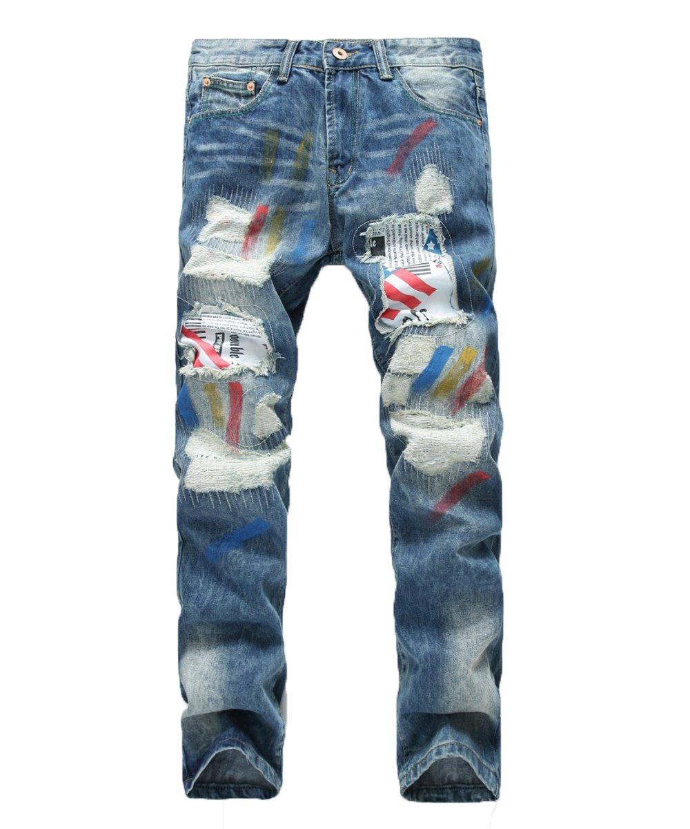 Men's Skinny Slim Fit Zipper Stretch Straight Leg Fashion Jeans Pants with Holes