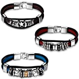 Amazon Price History for:Aroncent 3pcs Fathers Day Gifts Fashion Plaza Triple Strand Leather Zen Charm Bangle Bracelet with Metal Beads