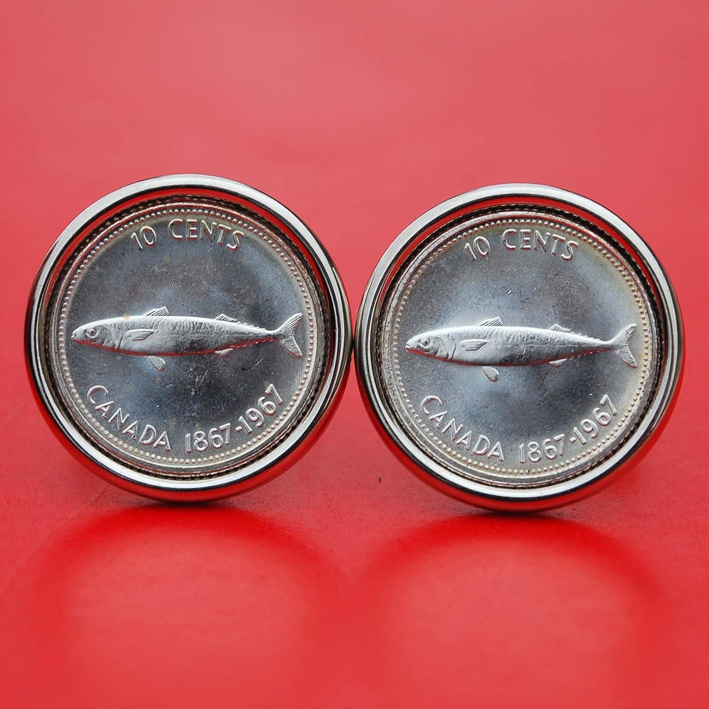 Canada 1967 Confederation Centennial 10 Cents BU Uncirculated 80% Silver Coin Cufflinks - Atlantic Mackerel Fish