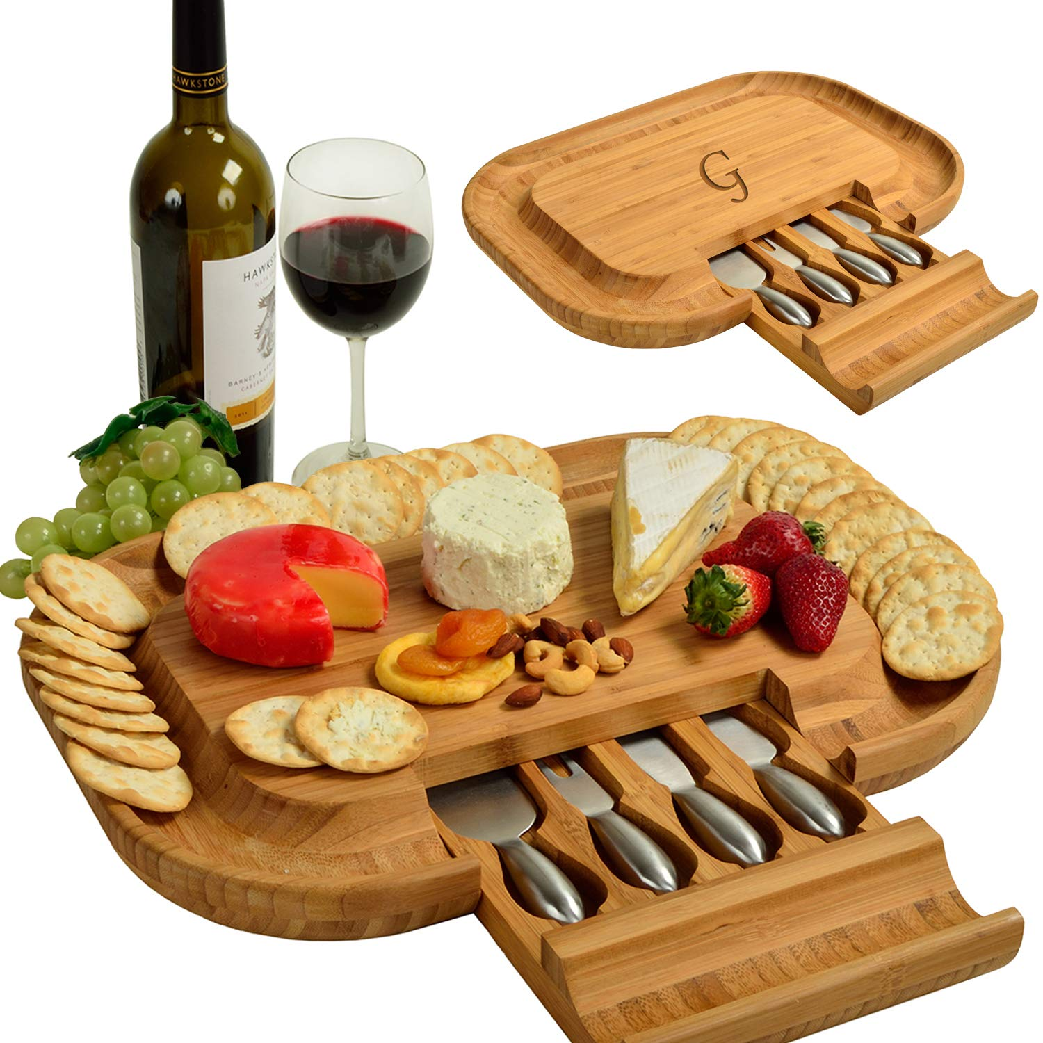 Picnic at Ascot Personalized Monogrammed Engraved Bamboo Cutting Board for Cheese & Charcuterie - includes Knife Set & Cheese Markers- Designed & Quality Checked in USA by Picnic at Ascot