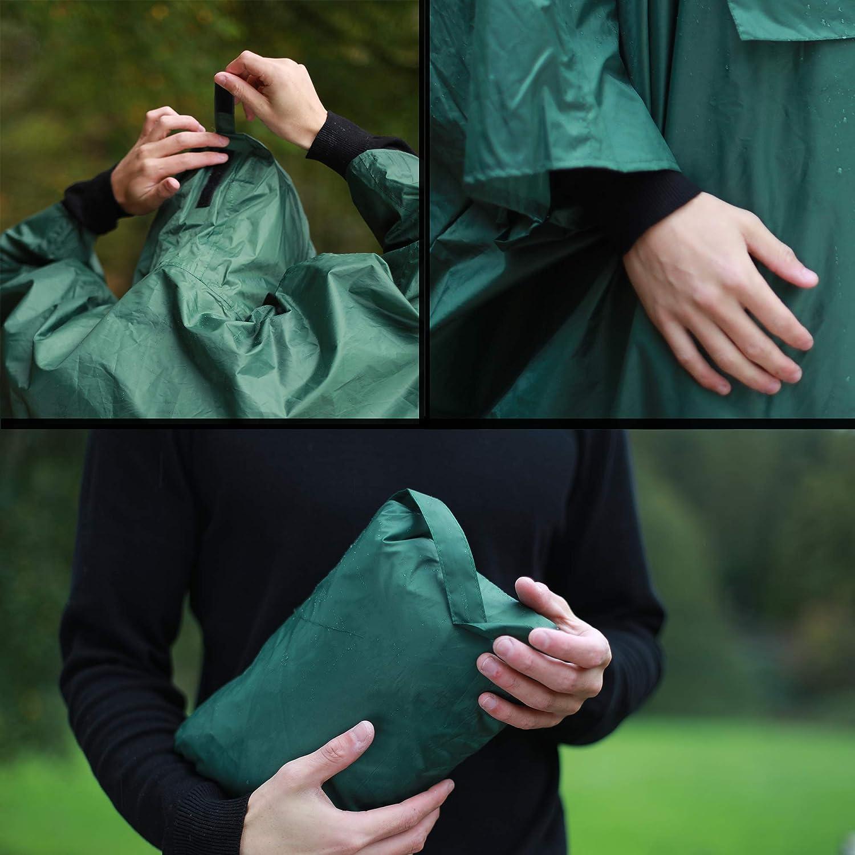 Leichter Regenschutz Unisex HOCK NEUHEIT Regenponcho Extra Lang mit Kapuze und Brusttasche 100/% Wasserdicht Markenqualit/ät