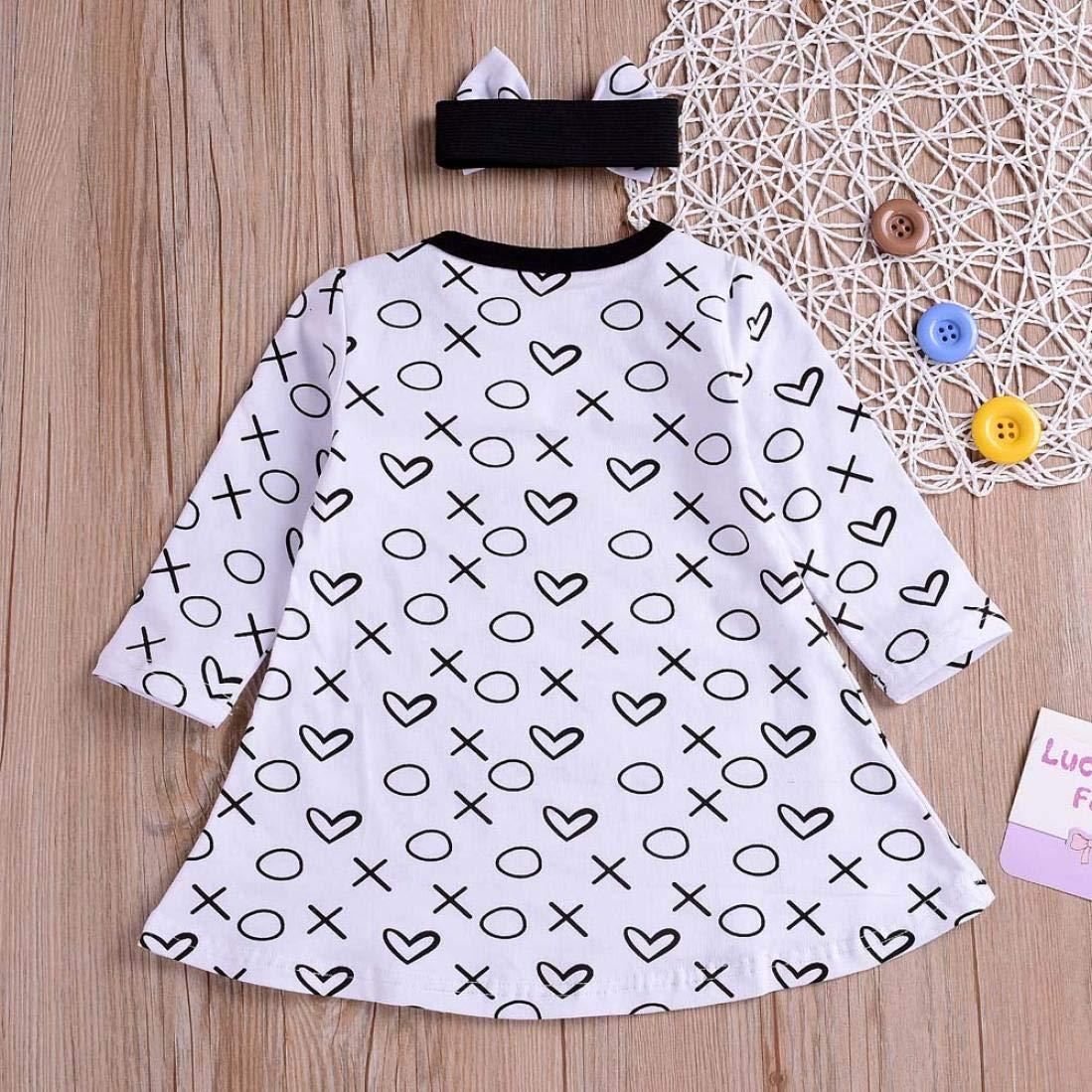 Memela Baby Clothes,Baby Girls Long Sleeve Cotton Ruffle Top Dress+Headband Children Clothing