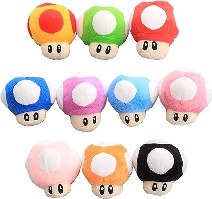 Amazon Com Uiuou Super Mario Bros 10pcs Mushroom Plush Keychain