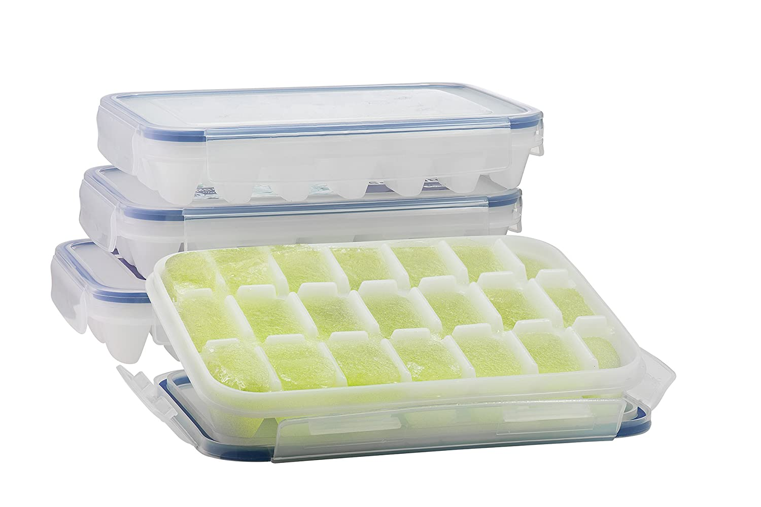 Amazoncom Komax Ice Cube Tray with Nospill Cover Set of 4 BPA