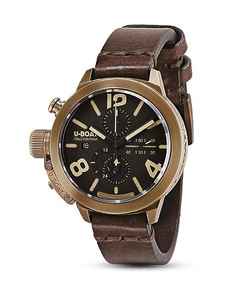 Reloj Automático U-Boat Classico, Bronce, Marrón, 45mm, Cronógrafo, 8063