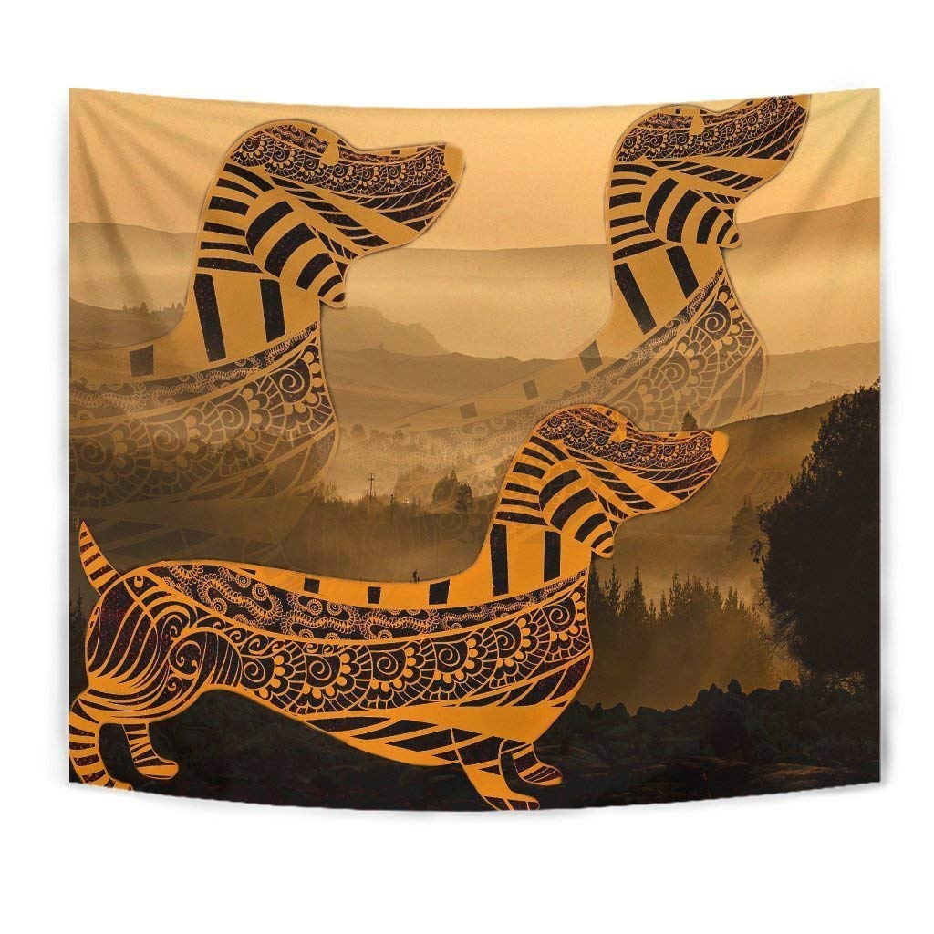Dachshund Yellow Print Tapestry by Paws With Attitude