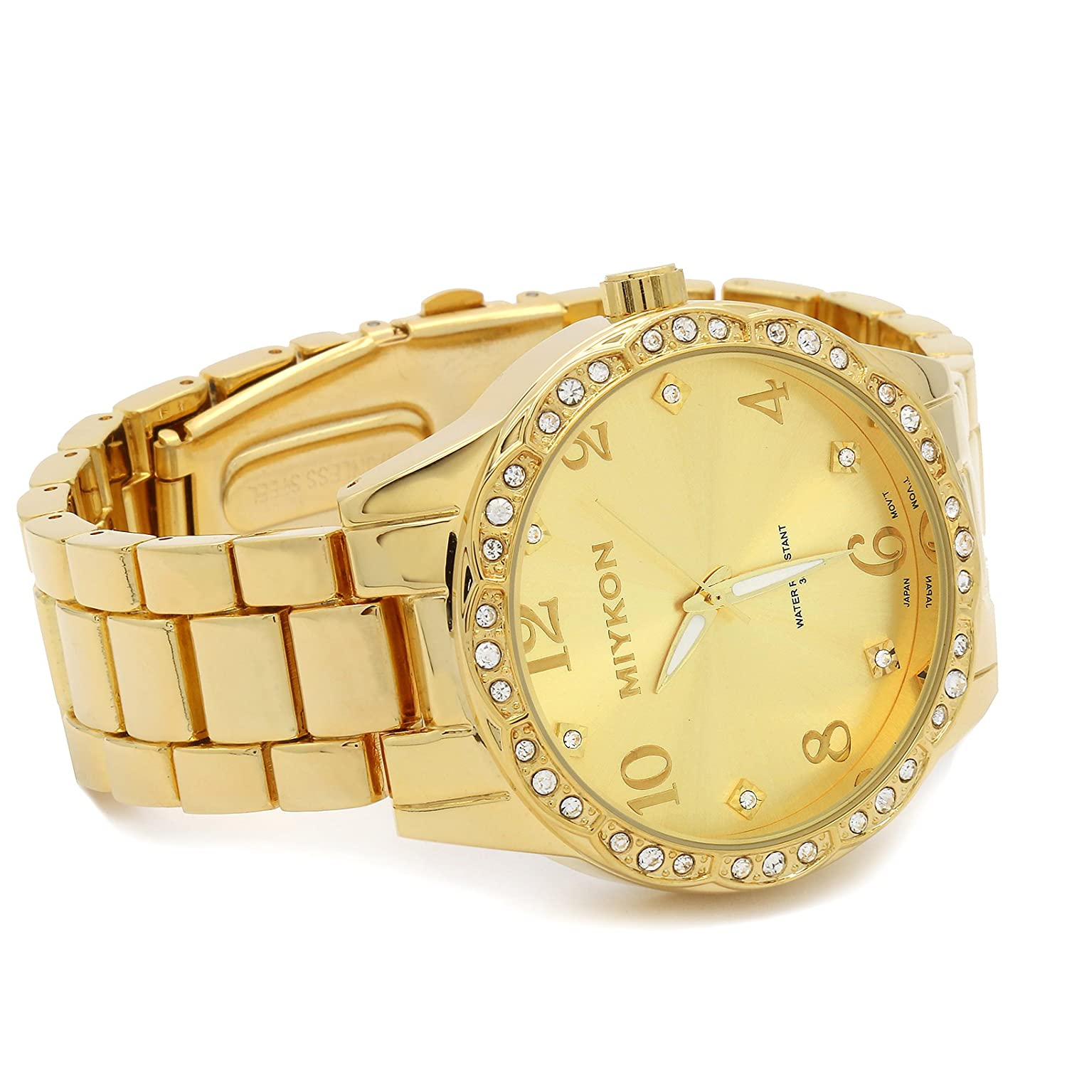 Amazon.com: Miykon Mens Gold Plated Metal Band Gold Face Fashion Casual Quartz Wrist watch Watches 3: Watches