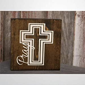 BYRON HOYLE Pray Or Amen Cross Wood Sign,Wooden Wall Hanging Art,Inspirational Farmhouse Wall Plaque,Rustic Home Decor for Living Room,Nursery,Bedroom,Porch,Gallery Wall