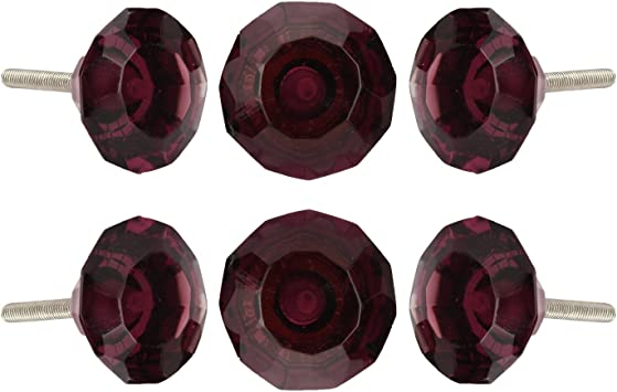 Crystal Glass Knobs Set Of 6 Kitchen Cabinet Cupboard Glass Door Dresser Wardrobe Drawer Pull by Perilla Home