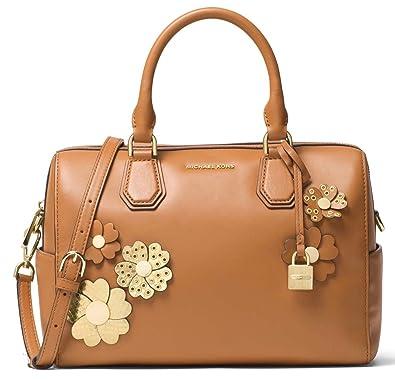 0957ddd98a3a Amazon.com: Michael Kors Studio Floral Applique Mercer Leather Satchel,  Acorn: Shoes