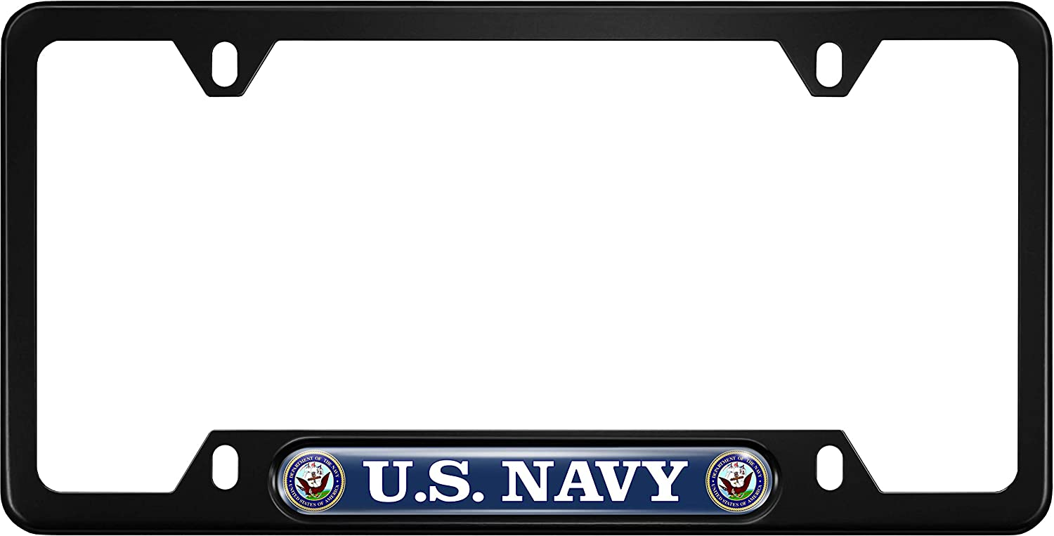 USA Patriotic Anodized Aluminum Thin Top Black Narrow Top Car License Plate Frame with US Navy Department Insert with Free caps