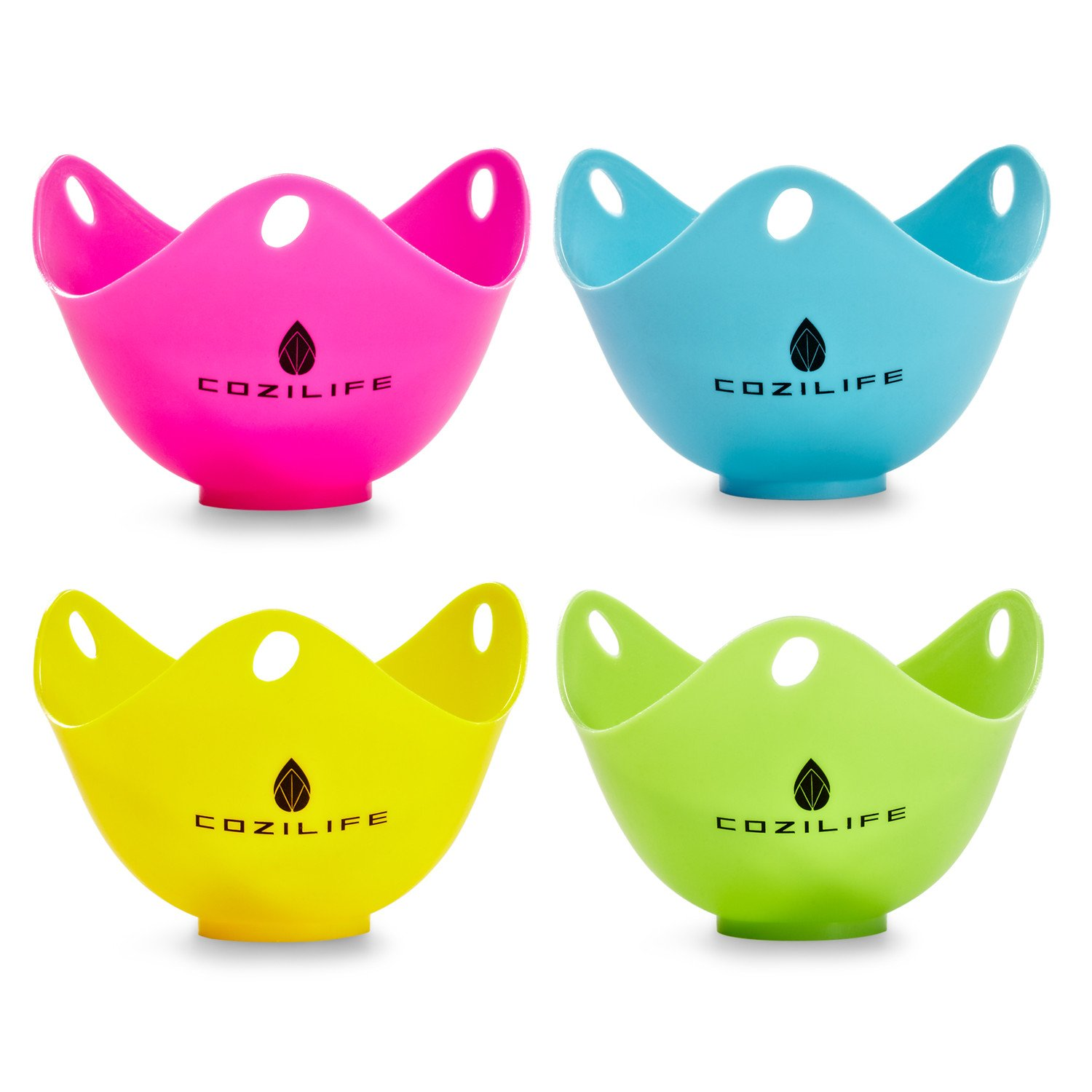 Egg Poacher - COZILIFE Silicone Egg Poaching Cups with Build-in Ring Standers, For Microwave or Stovetop Egg Cooking, Kraft Box Packing, BPA Free, Pack of 4 by COZILIFE