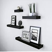 SLK Wood Products Wall Shelf with 4 Shelves (Black)
