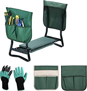 Upgraded Garden Kneeler and Seat with 2 Large Tool Pocket and Soft EVA Kneeling Pad ,Foldable Stool for Ease of Storage for Gardening Lovers - Sturdy and Lightweight