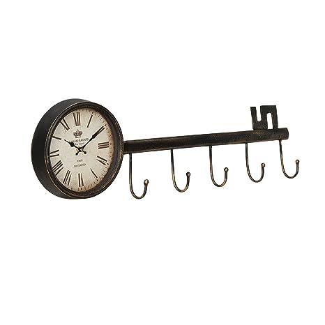 4eab2bd11c3d  en.casa ® Reloj de pared decorativo diseño llave con pantalla analógica -