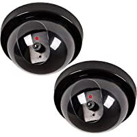 WALI Dummy Fake Security CCTV Dome Camera with Flashing Red LED Light With Warning Security Alert Sticker Decals (SD-2), 2 Packs, Black