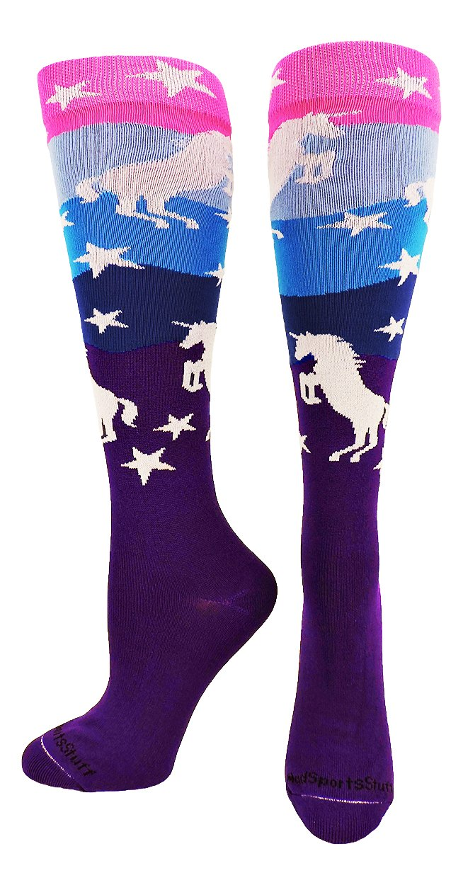 MadSportsStuff Neon Unicorn Over the Calf Socks (Neon Pink/Blue/Purple, Medium)
