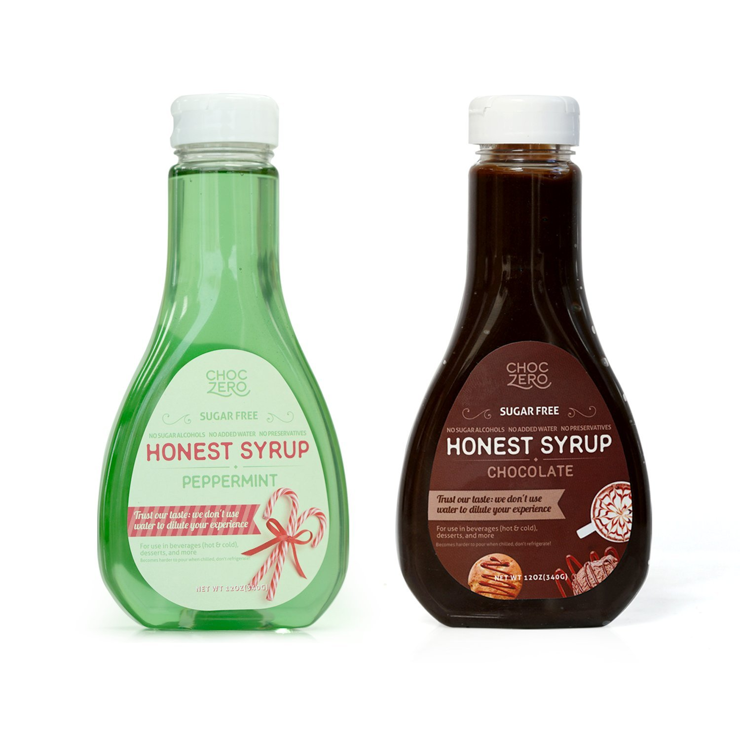 ChocZero's Chocolate Syrup and Peppermint Syrup. Sugar Free, Low Net Carb, No Preservatives. Gluten Free. No Sugar Alcohol. (2 Bottles)