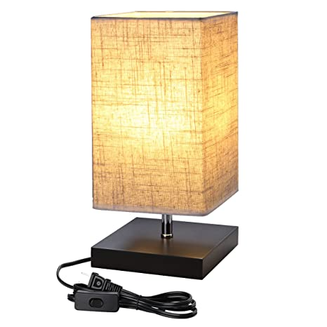 LE Bedside Table Lamp, Simple Desk Lamp With Square Flaxen Fabric Shade And  Minimalist Solid