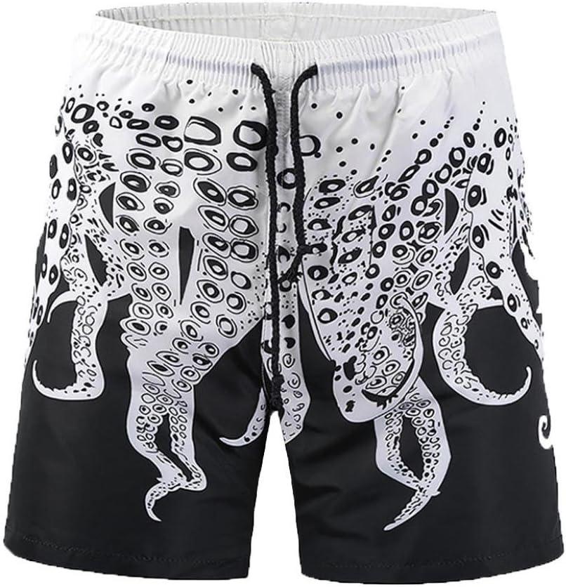 LuckyGirls Pantalones Corta de Playa para Hombres 3D Originals Estampado de Pulpo Rectos Suelto Casual Pantalón Bañador Troncos para Natación