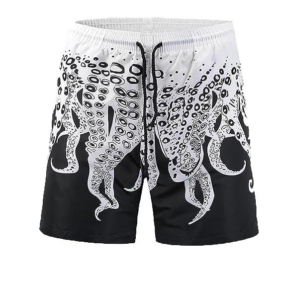 LuckyGirls Pantalones Corta de Playa para Hombres 3D Originals Estampado de Pulpo Rectos Suelto Casual Pantalón Bañador Troncos para… bu2QwWYwwb