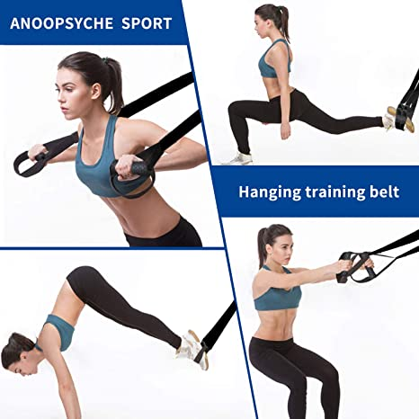 AnOOPSYCHE - Kit de entrenamiento de resistencia al peso corporal con guía de entrenamiento corporal, correas de entrenamiento de fitness para el ...