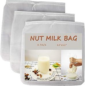 Magca 3 Pack-Nut Milk bag-12x12inches-Food Grade 190 micron Nylon Mesh, BPA Free-Reusable Food Strainer Filter Bag, Yogurt Filter, Brew Coffee Bag,Juices Strainer