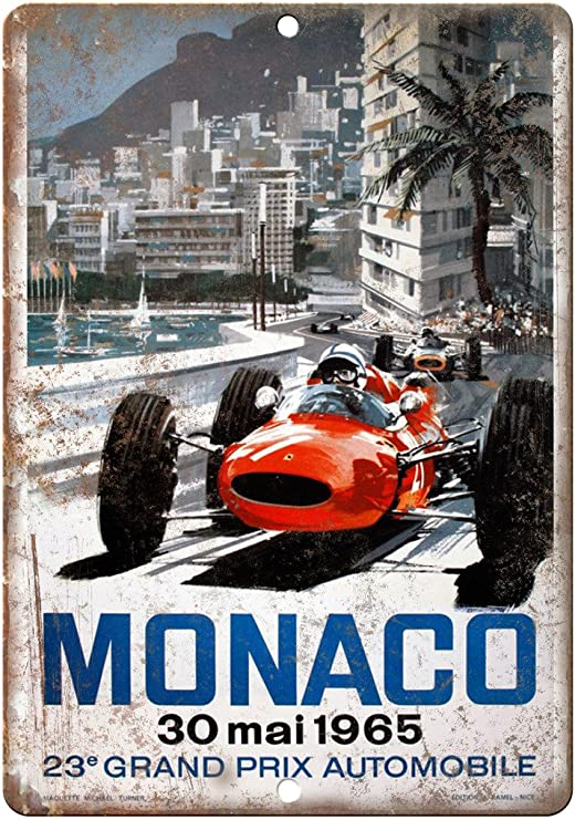 Grand Prix de Monaco rétro en métal aluminium SIGNE VINTAGE//man cave//garage