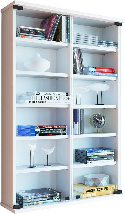 VCM Zuntisa Estante Mural para colección de CDs y DVDs, Madera, Blanco, 91,5x60x18 cm