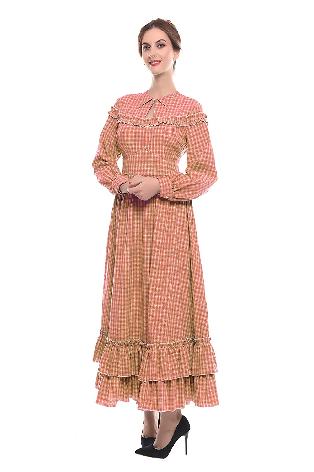 Cottagecore Dresses Aesthetic, Granny, Vintage NSPSTT Women Girls American Pioneer Colonial Dress Prairie Costume $53.99 AT vintagedancer.com