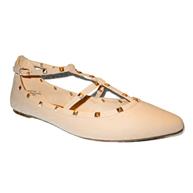 b615af97a Amazon.com | Wild Diva Women's Studded Accent Pointed Toe Ballet Flats |  Shoes