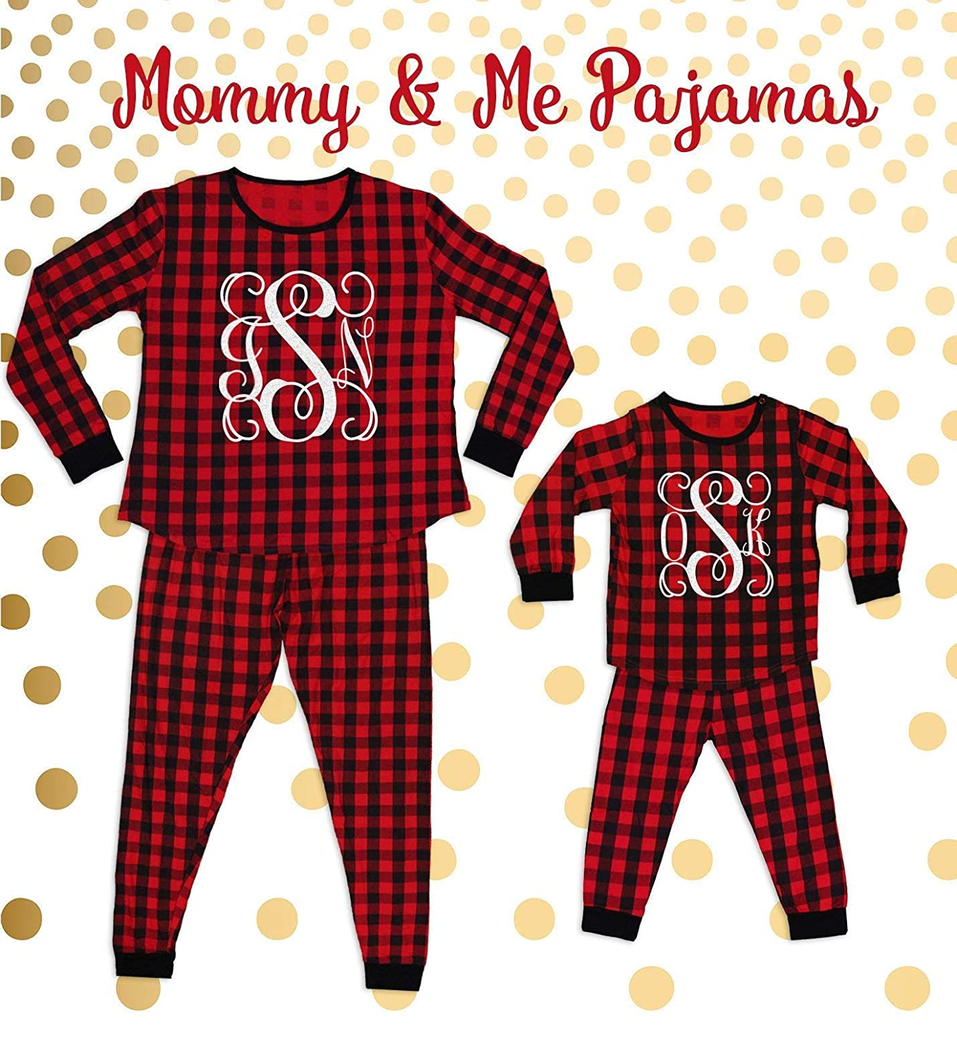 Mommy and Me Christmas Pajamas Christmas Pajamas Buffalo Plaid Pajamas Monogram Pajamas Mother Daughter Pajamas Mother Son Pajamas Christmas