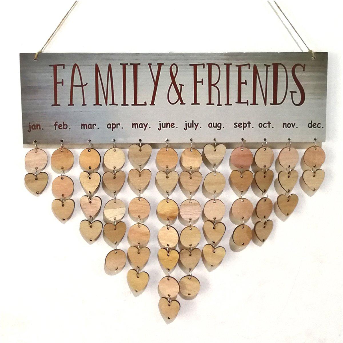 1/targhetta 25/dischi di legno rotonda 25/legno cuore 50/nastri di ferro ultnice compleanno Calendario Calendario Da Parete In Legno Calendario Perpetuo