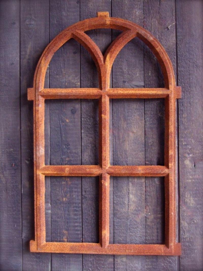 Antikas ventana r/ústica de 66 x 39 ventana hierro fundido con arco de medio punto para muro de jard/ín