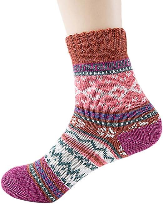 Xuniu Calcetines de Mujer, Estilo étnico Calcetines Calientes Lana Algodón Contraste Color Grueso Invierno (1 par: Amazon.es: Hogar