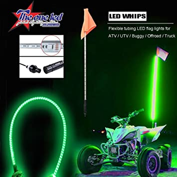 Green Lighted Whip with Quick Connect and 1 Year Warranty 5ft