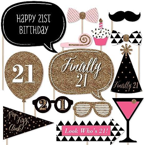 amazon com finally 21 girl 21st birthday photo booth props kit