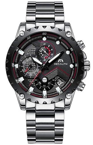 127577715bc Mens Silver Stainless Steel Watches Men Chronograph Sports 30M Waterproof  Luxury Unique Design Calendar Date Wrist