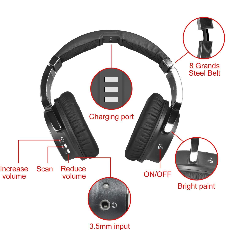 Inalámbrico para TV Auricular 2.4G Transmisor de RF digital Base de carga, Hi-Fi Auriculares inalámbricos sobre oreja para ver juegos de TV para el hogar ...