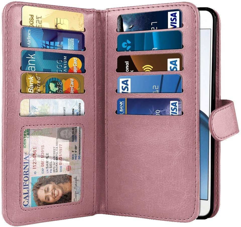NEXTKIN Case Compatible with Motorola Moto G4/ G4 Plus 5.5 inch XT1625, Dual Wallet Folio TPU Cover, Pockets Double Flap, Card Slots Button Strap for Moto G4/ G4 Plus (NOT FIT G4 Play) - Rose Gold