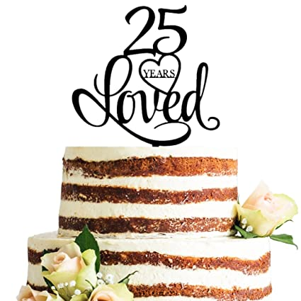 Amazon Black Acrylic 25 Years Loved Cake Topper 25th Birthday