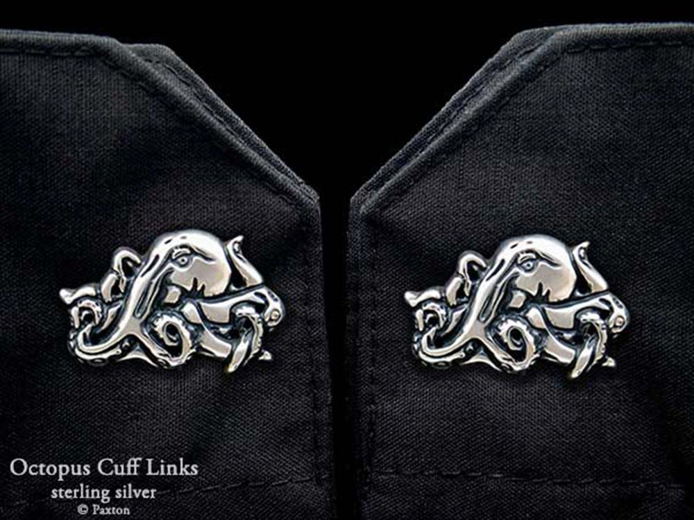 Octopus Cuff Links in Solid Sterling Silver Hand Carved & Cast by Paxton