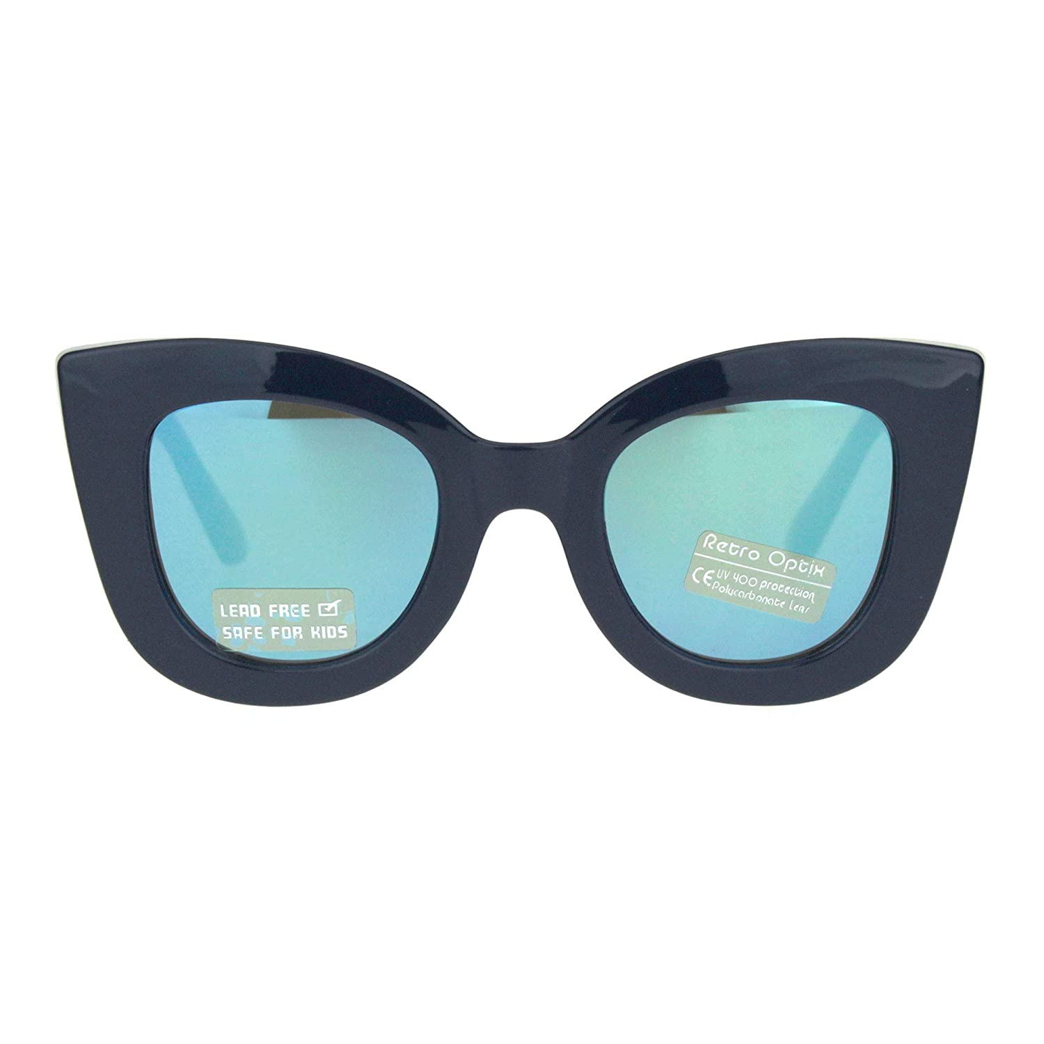 Kids Size Girls Thick Plastic Cat Eye Retro Fashion Sunglasses kgrom90064-bkbk