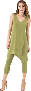 product image for Eva Varro Women's V-Overlaid Tunic Dress 60's Green