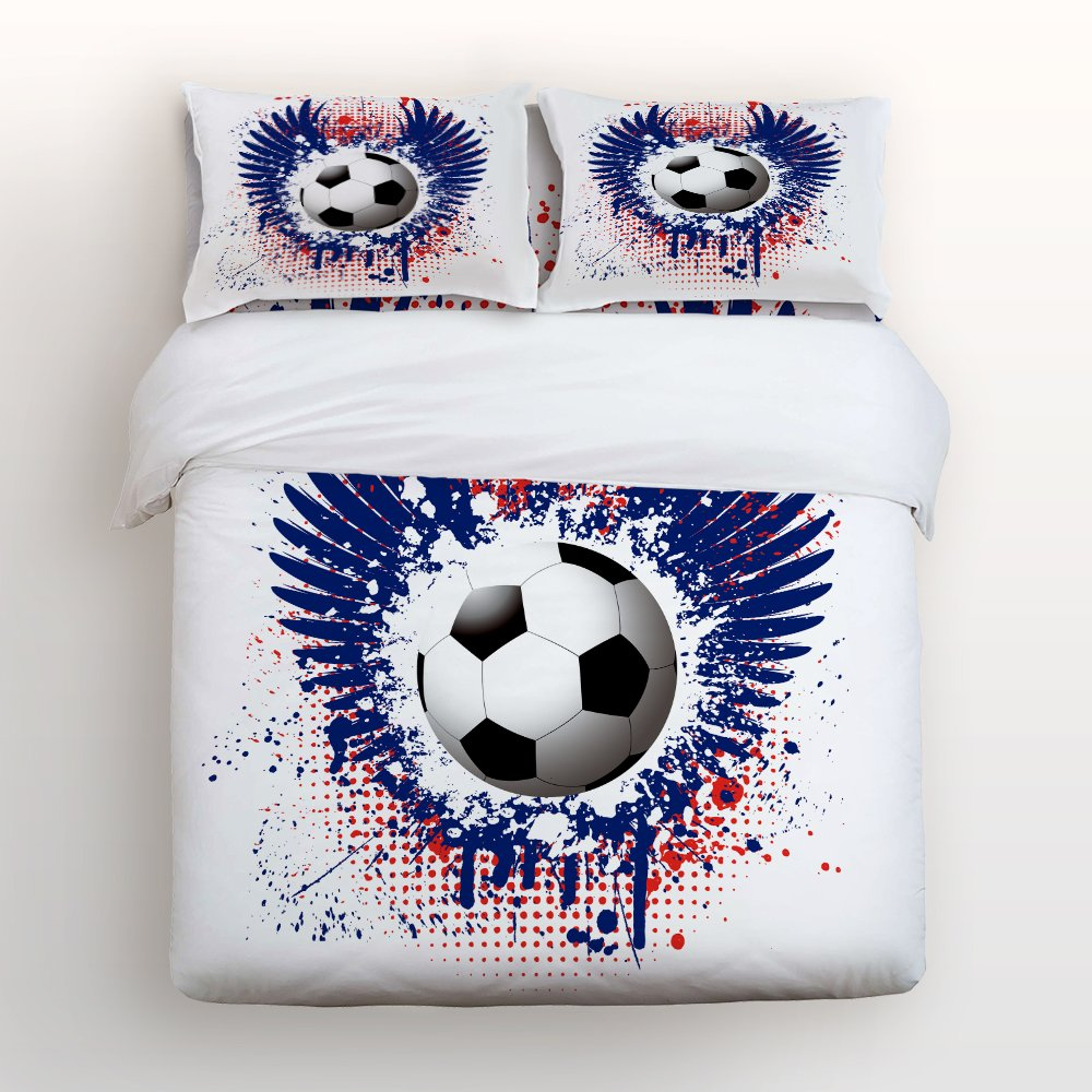 FIFA World Cup Graffiti Wings Football Home Bedding Sets 3D Duvet Cover Sets Bedspread for Adult Kids, Flat Sheet, Shams Set 4 Pcs Full Size for Teens