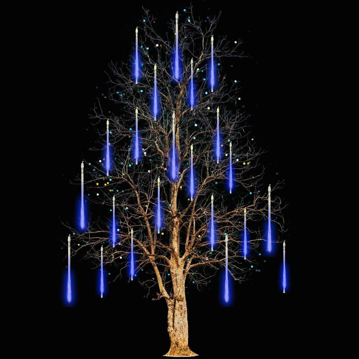 Icicle Lights Snowfall Meteor Shower Rain Light Christmas LED Decoration Falling Drop String Light 8 Tube (Blue, 30cm)
