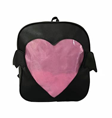 afcd02cf03c3 Girls Backpacks Cute Candy Leather Wing Backpack Transparent Love Heart  Schoolbags Ita Bag Jelly Daypack (