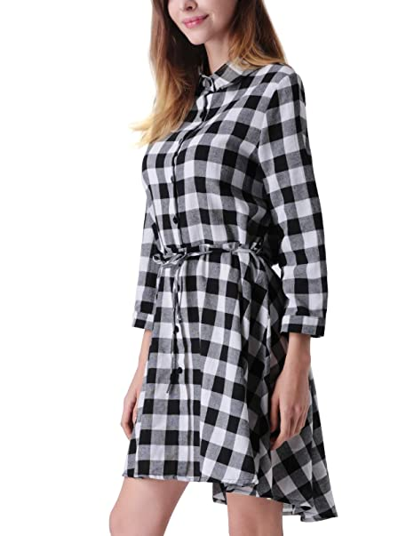 ab1439f87e4 MAVIS LAVEN Plaid Shirt Dress Black and White Irregular Hem Casual T Shirt  Dress for Women